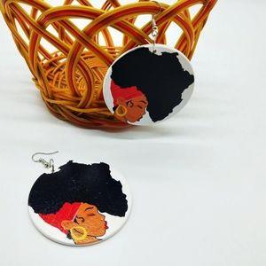 Round wooden dangle hook earrings